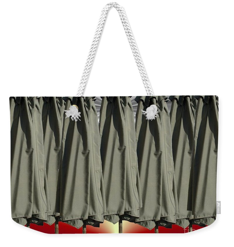 Unbrella Art Weekender Tote Bag featuring the digital art Gray Over Red Sky by Ron Bissett