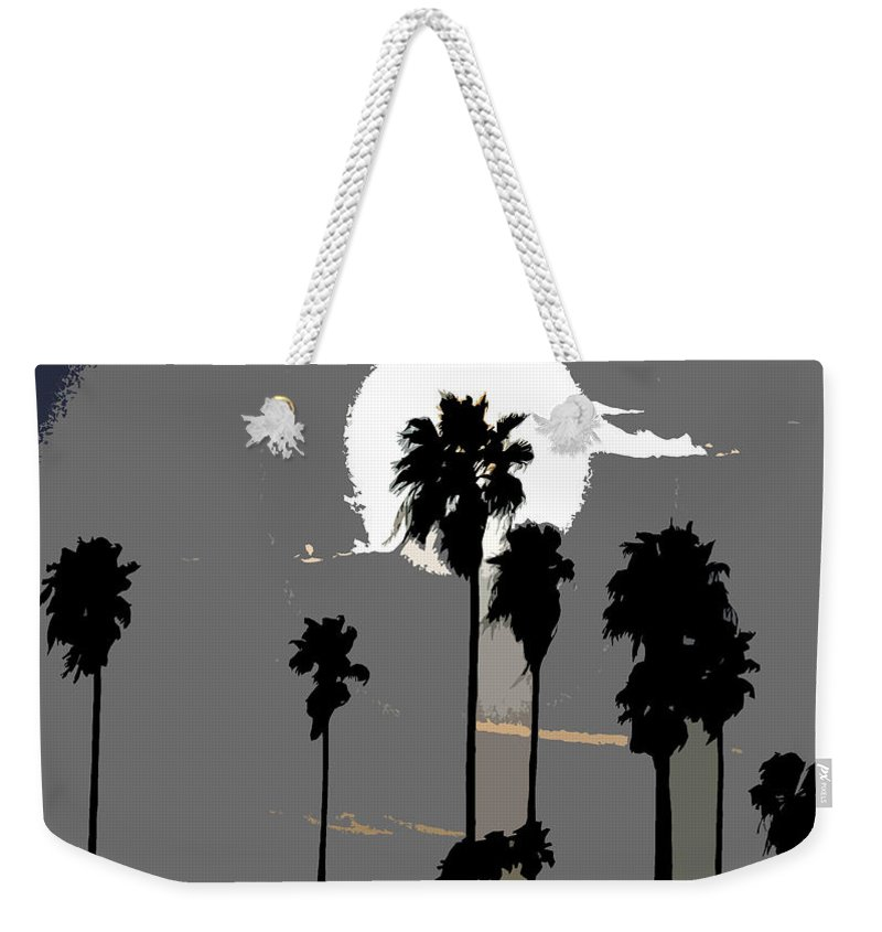 Palms Weekender Tote Bag featuring the painting Gray Palms by David Lee Thompson