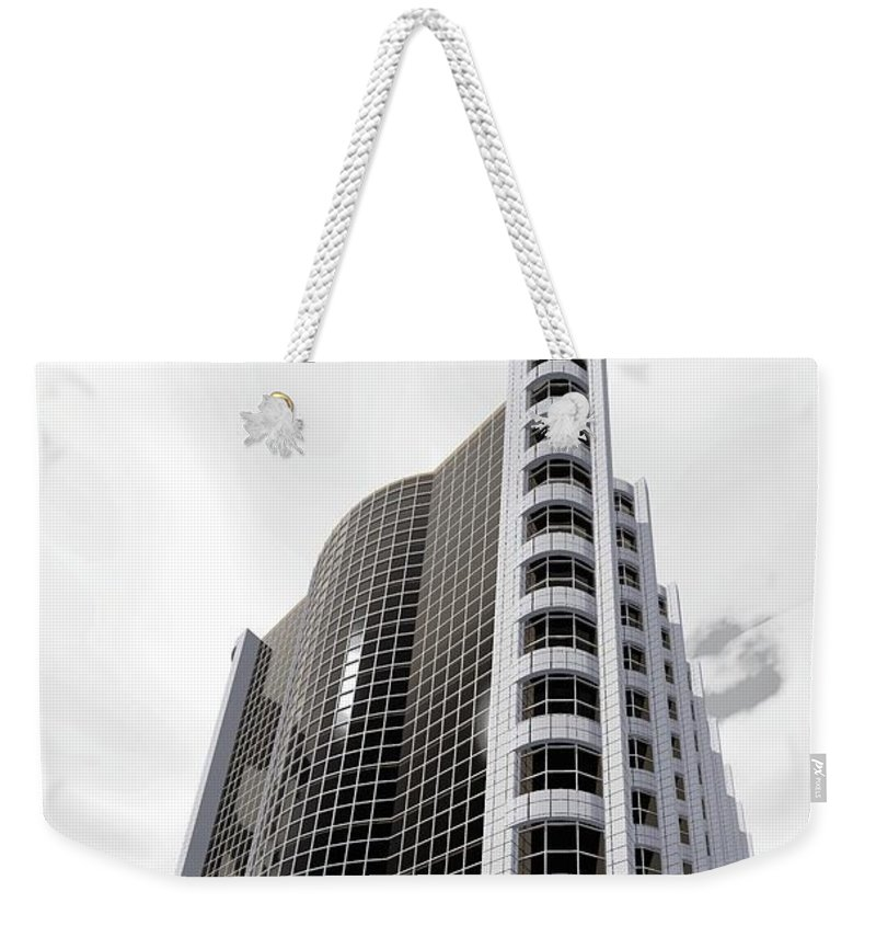 Building Rendering Weekender Tote Bag featuring the digital art Gray Tile And Black Glass by Ron Bissett