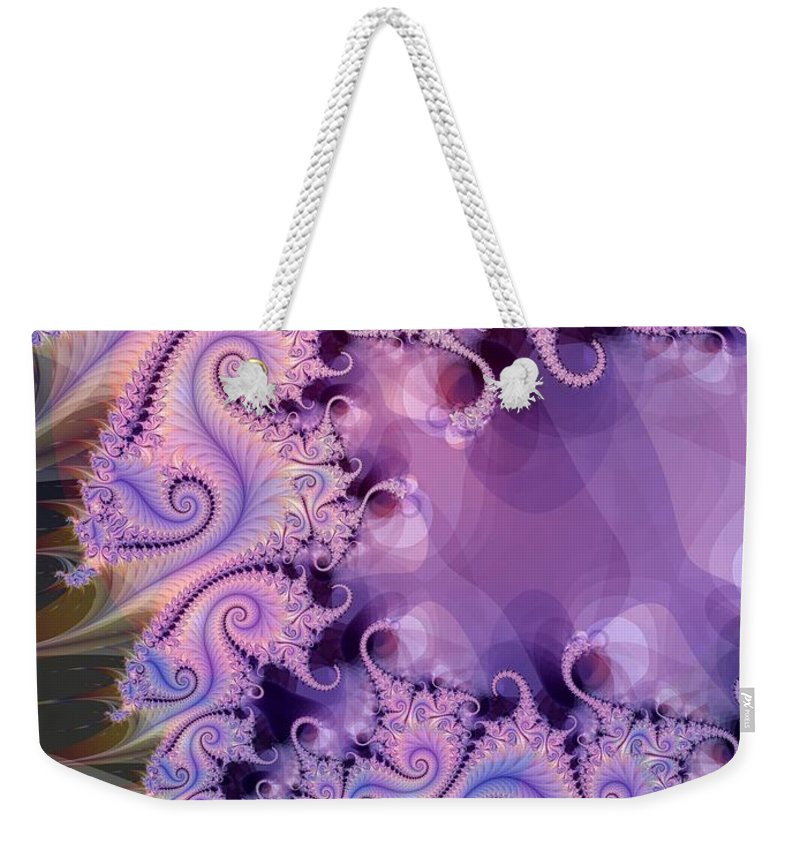 Lavender Weekender Tote Bag featuring the digital art Gray To Lavender by Ron Bissett