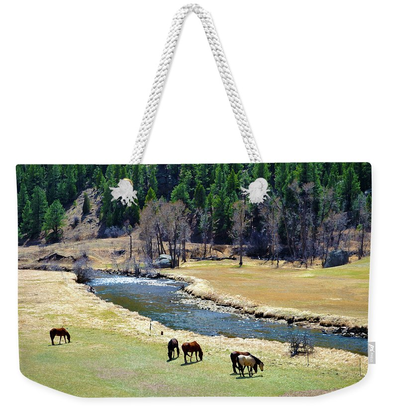 Colorado Weekender Tote Bag featuring the mixed media Grazing by Angelina Tamez