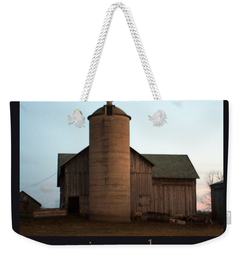 Barn Weekender Tote Bag featuring the photograph Grazing At Dawn by Tim Nyberg