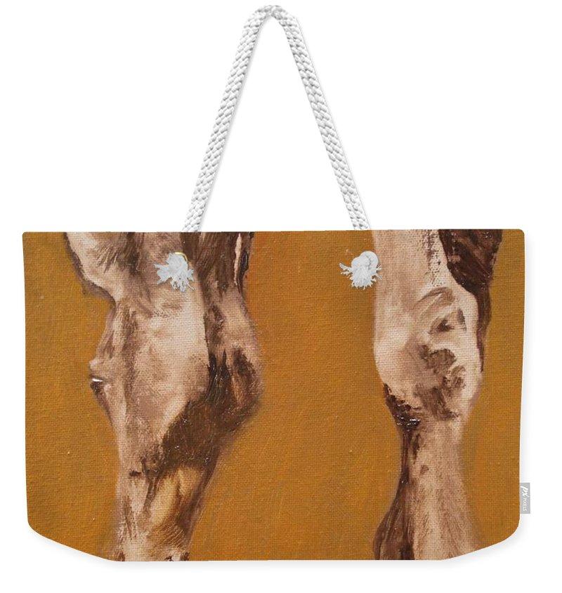 Animals Weekender Tote Bag featuring the painting Grazing by Barbara Andolsek