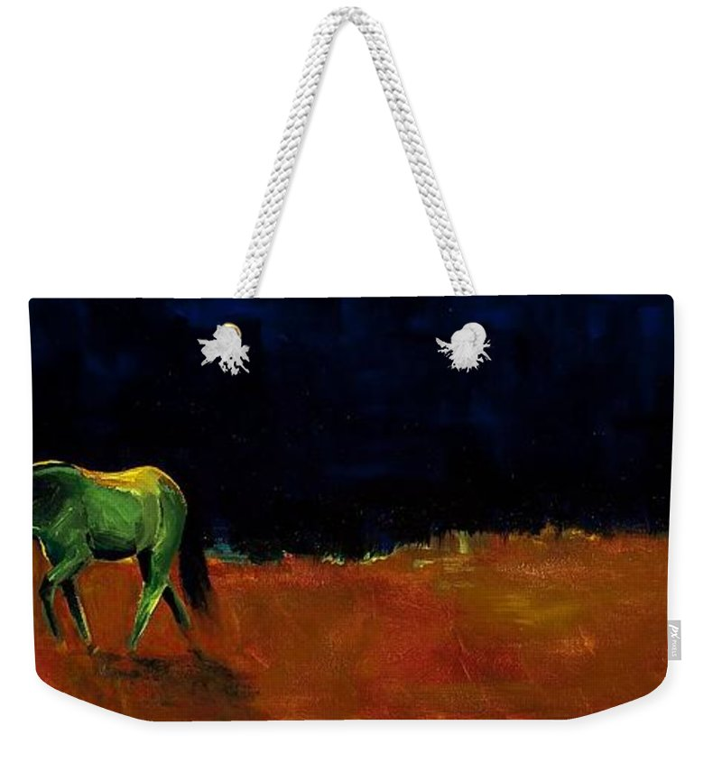 Abstract Horses Weekender Tote Bag featuring the painting Grazing In The Moonlight by Frances Marino