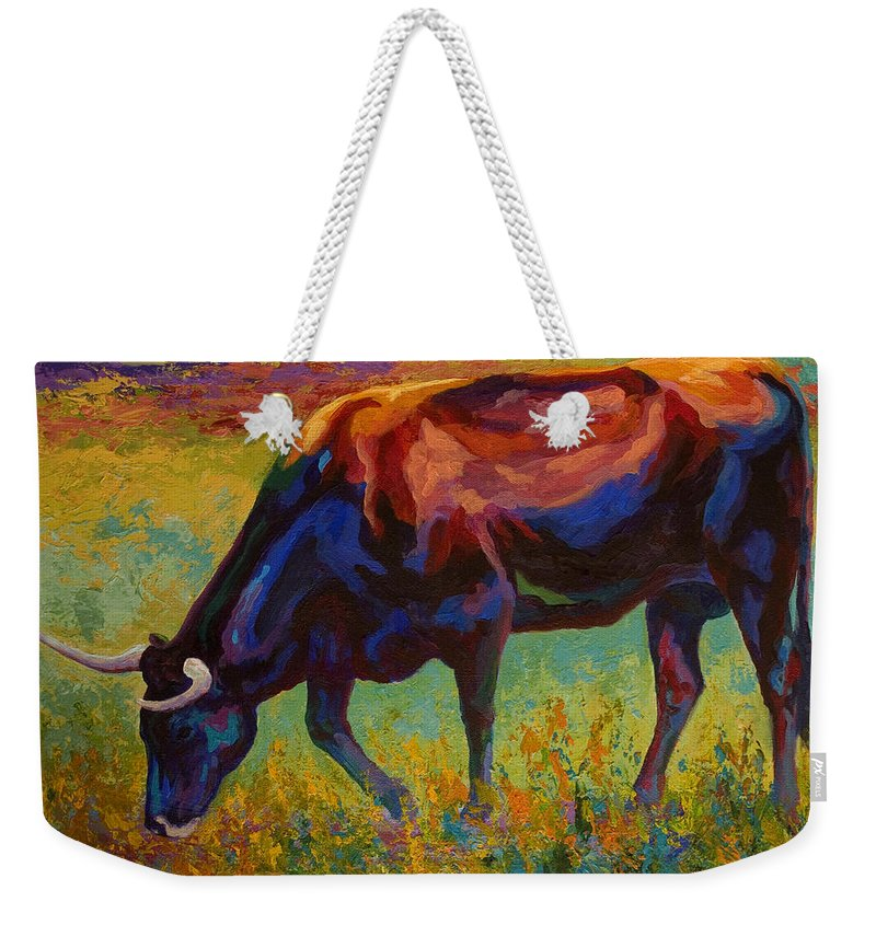 Longhorn Weekender Tote Bag featuring the painting Grazing Texas Longhorn by Marion Rose