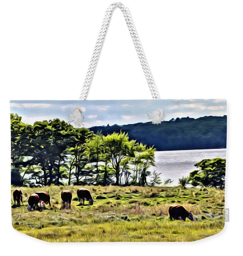 Cow Weekender Tote Bag featuring the photograph Grazing With A View by Modern Art