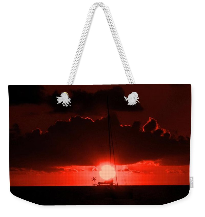 Sunset Weekender Tote Bag featuring the photograph Great Ball Of Fire by Ian MacDonald
