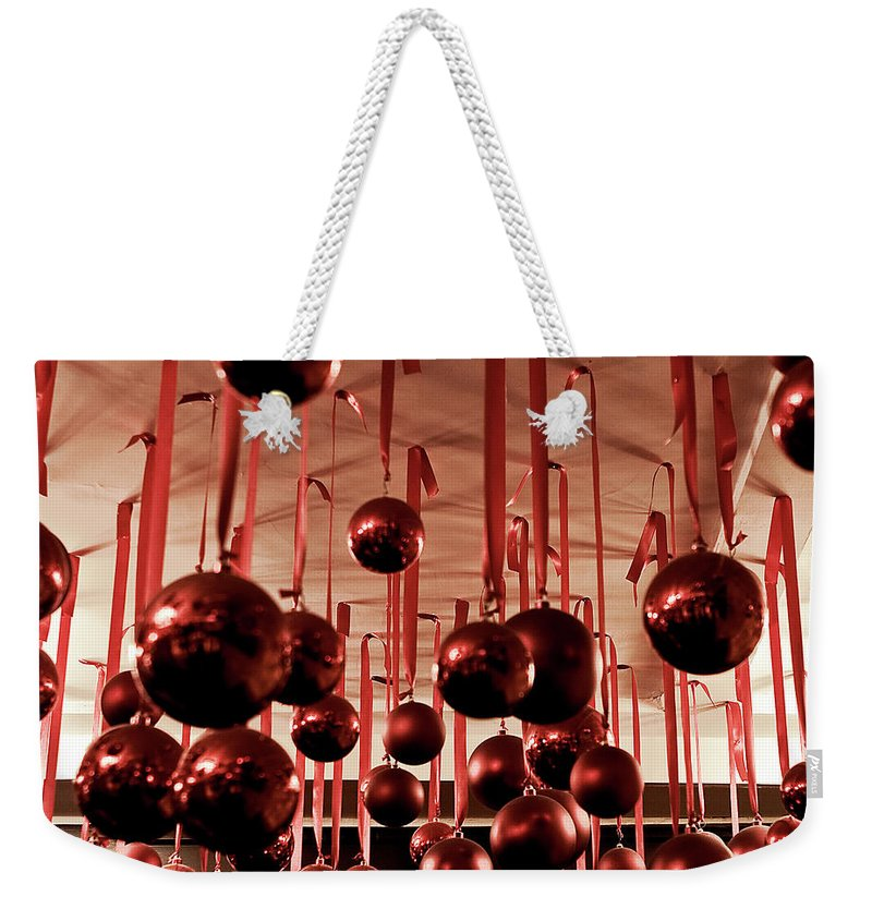 New York City Weekender Tote Bag featuring the photograph Great Balls Of Macy's by Lorraine Devon Wilke