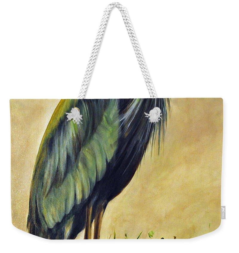 Egert Weekender Tote Bag featuring the painting Great Blue Heron by Carolyn Shireman