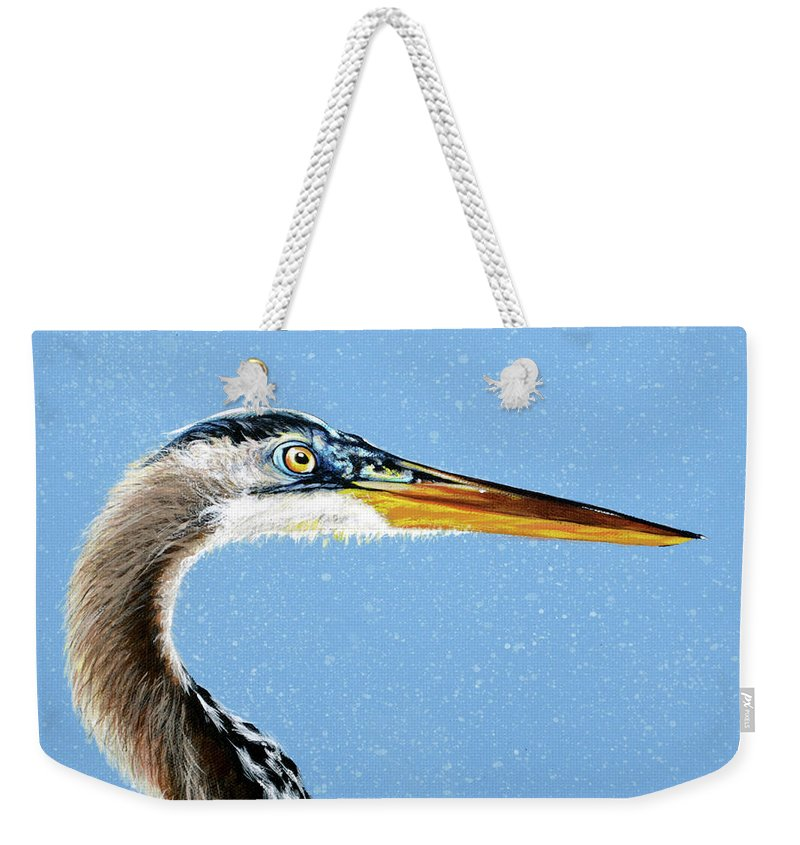 Great Blue Heron Weekender Tote Bag featuring the painting Great Blue Walter by Joan Garcia