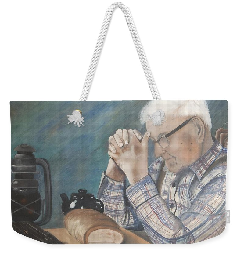 Great Grandpa Weekender Tote Bag featuring the painting Great Grandpa by Jacqueline Athmann