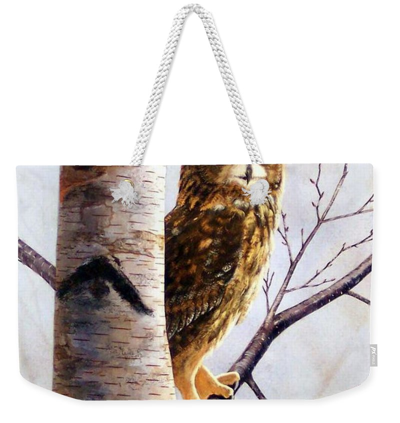 Great Horned Owl In Birch Weekender Tote Bag featuring the painting Great Horned Owl In Birch by Frank Wilson