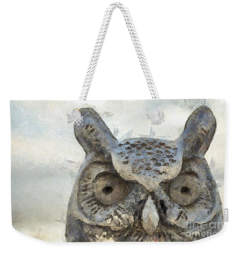 Pencil Weekender Tote Bag featuring the photograph Great Horned Owl Pencil by Edward Fielding