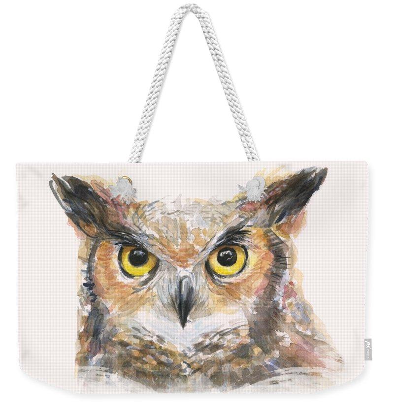 Owl Weekender Tote Bag featuring the painting Great Horned Owl Watercolor by Olga Shvartsur