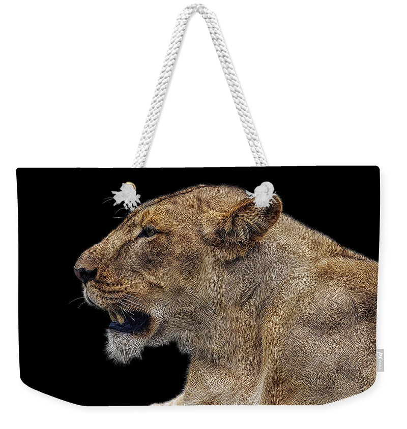 Lion Weekender Tote Bag featuring the photograph Great Lioness by Janet Fikar