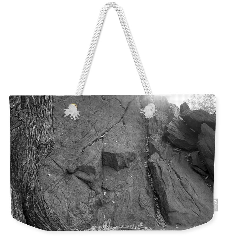 Mountain Weekender Tote Bag featuring the photograph Great Mountains Of Central Park In Black And White by Rob Hans