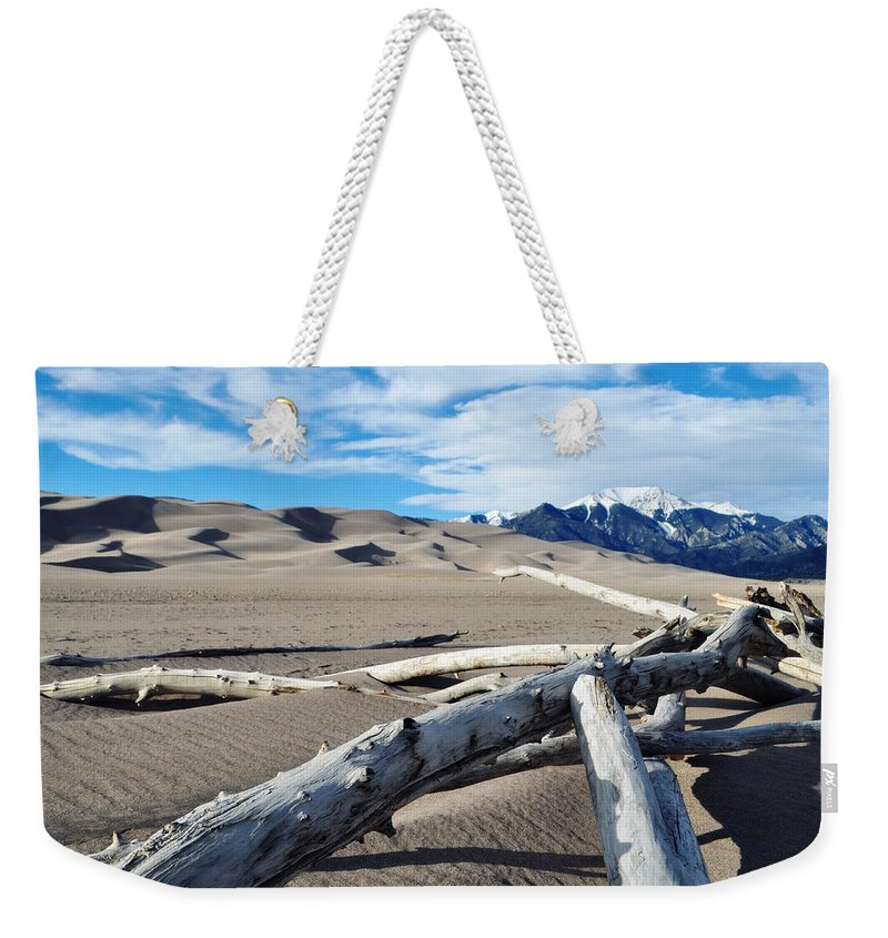 Great Sand Dunes National Park Weekender Tote Bag featuring the photograph Great Sand Dunes National Park Driftwood Landscape by Kyle Hanson