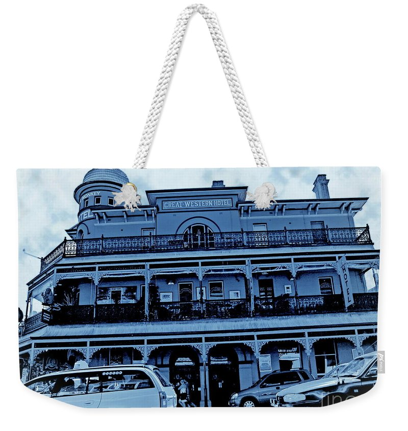 Digital Altered Photo Weekender Tote Bag featuring the photograph Great Western Perth Cyan by Tim Richards
