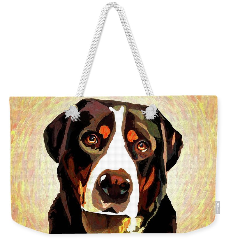 Greater Swiss Mountain Dog Weekender Tote Bag featuring the mixed media Greater Swiss Mountain Dog by Alexey Bazhan