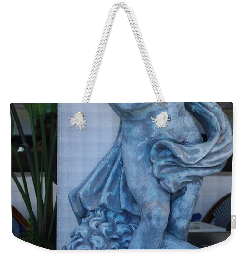 Statue Weekender Tote Bag featuring the photograph Greek Dude And Lion In Blue by Rob Hans