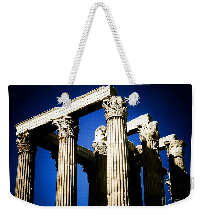Greek Weekender Tote Bag featuring the photograph Greek Pillars by Sonal Dave