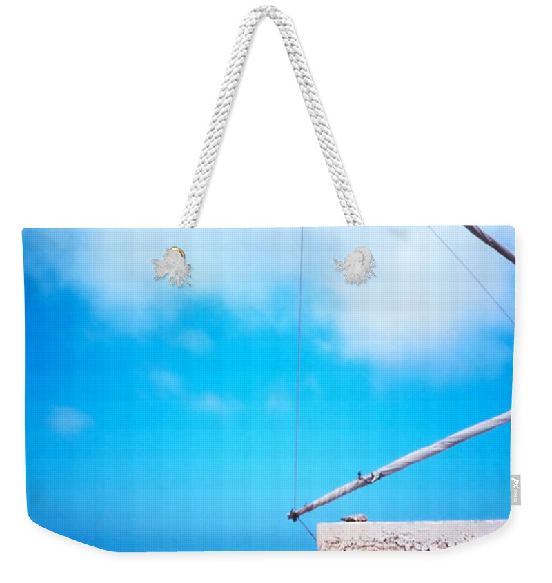 Blue Weekender Tote Bag featuring the photograph Greek Windmill by Silvia Ganora