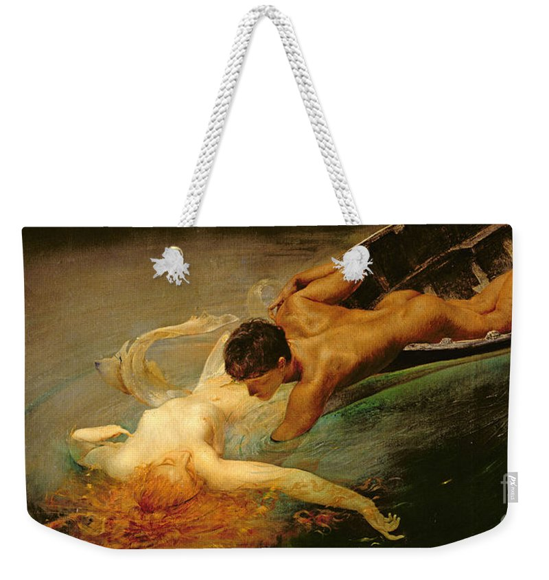 Green Abyss Weekender Tote Bag featuring the painting Green Abyss by Giulio Aristide Sartorio