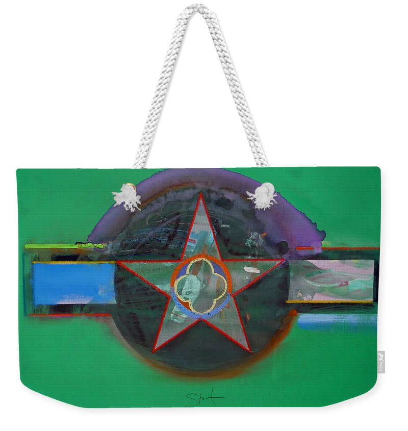 Star Weekender Tote Bag featuring the painting Green And Violet by Charles Stuart