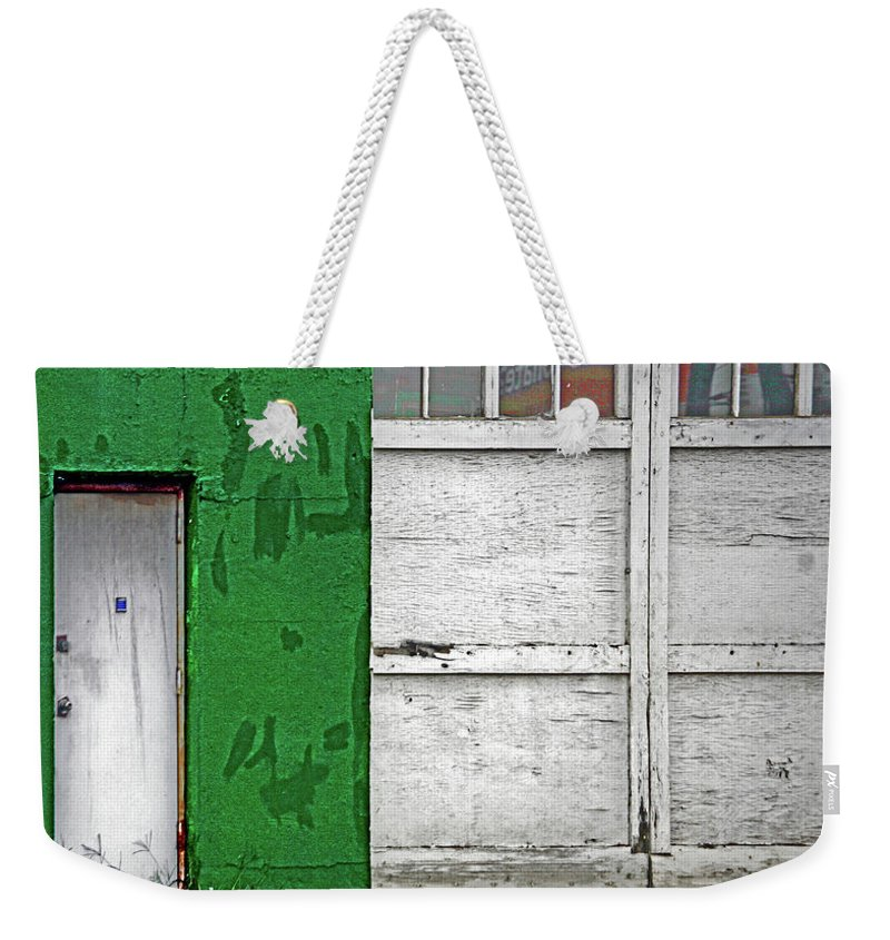 Color Weekender Tote Bag featuring the photograph Green And White by Guy Ciarcia