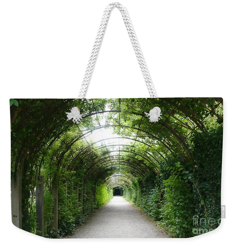 Arbor Weekender Tote Bag featuring the photograph Green Arbor Of Mirabell Garden by Carol Groenen