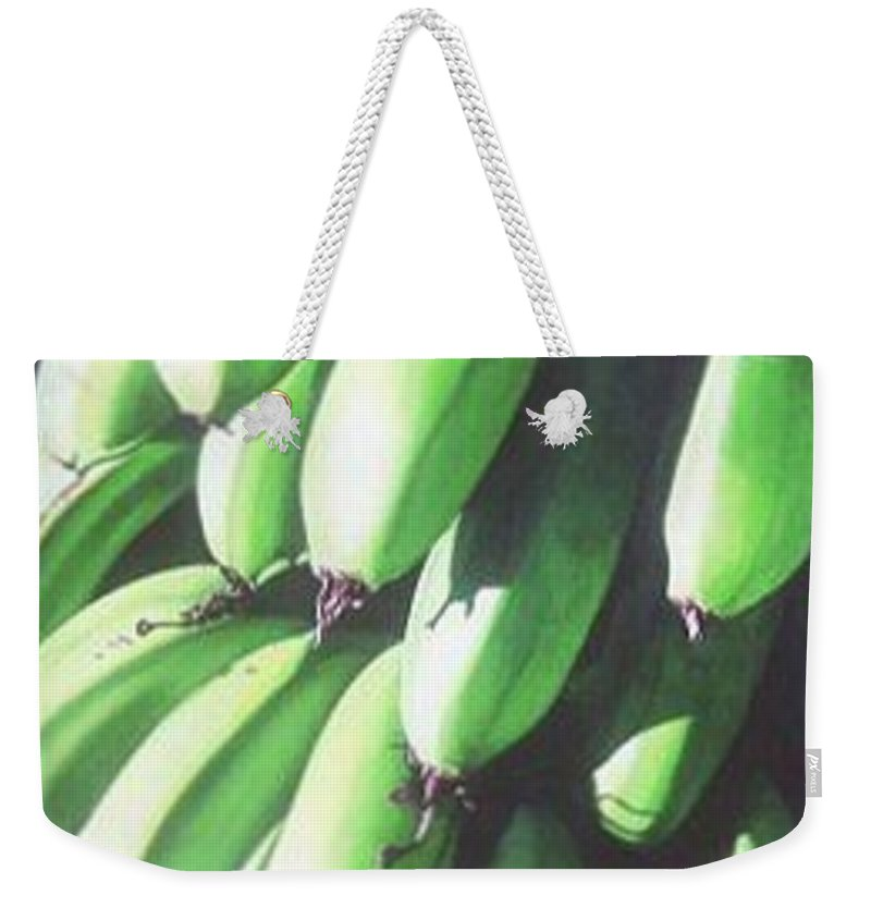 Hyperrealism Weekender Tote Bag featuring the painting Green Bananas I by Michael Earney