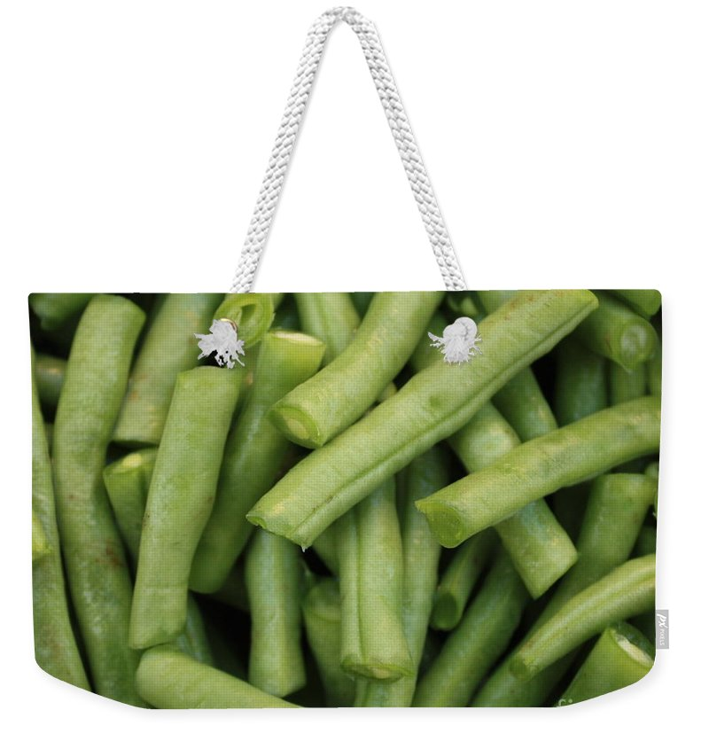 Foods Weekender Tote Bag featuring the photograph Green Beans Close-up by Carol Groenen