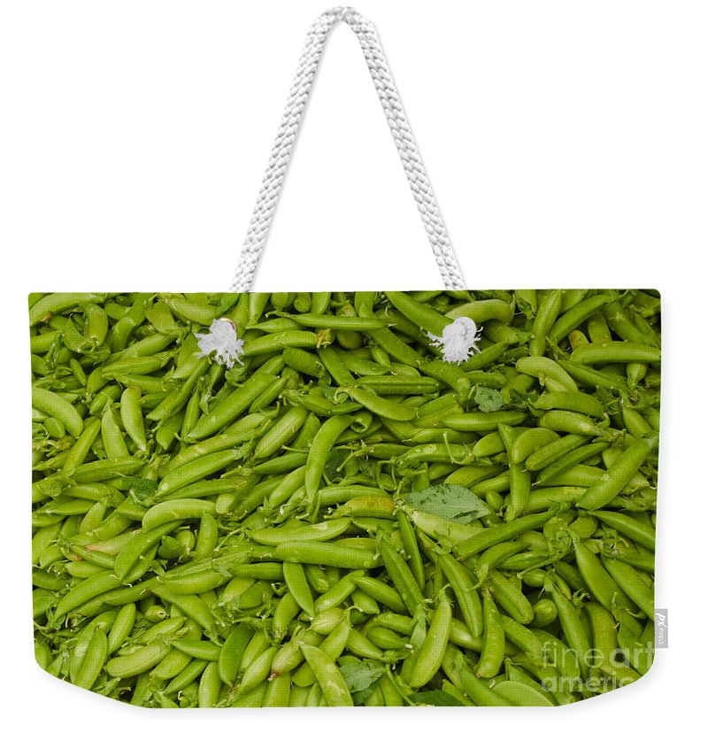 Green Weekender Tote Bag featuring the photograph Green Beans by Thomas Marchessault