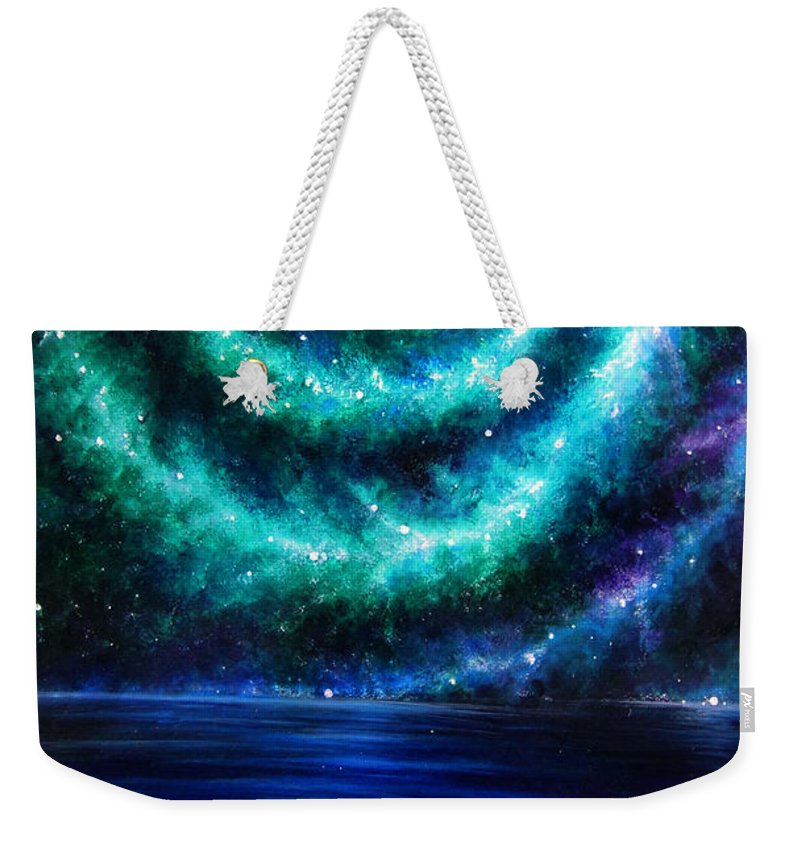 Planet Weekender Tote Bag featuring the painting Green-blue Galaxy And Ocean. Planet Dzekhtsaghee by Sofia Metal Queen