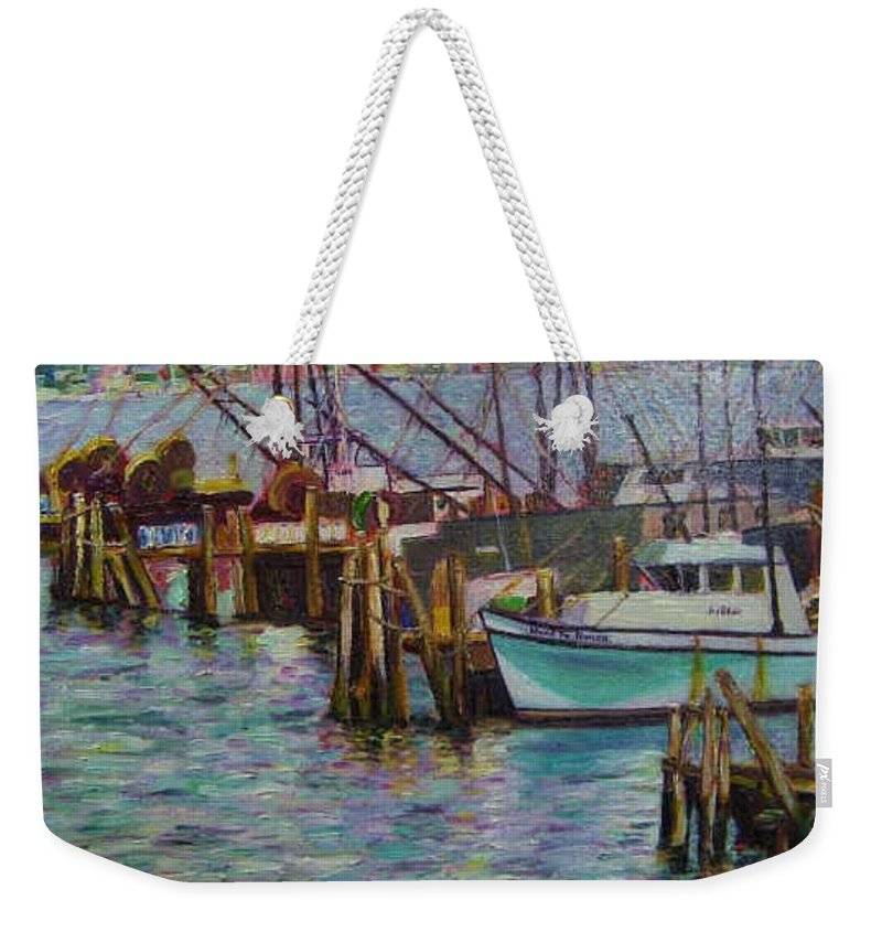 Boat Weekender Tote Bag featuring the painting Green Boat At Rest- Nova Scotia by Richard Nowak