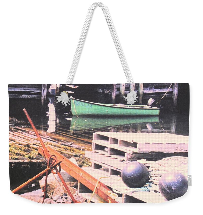 Green Weekender Tote Bag featuring the photograph Green Boat by Ian MacDonald
