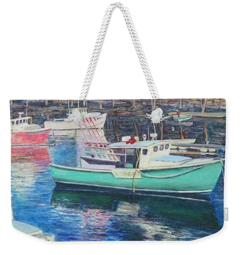 Water Weekender Tote Bag featuring the painting Green Boat Reflections by Richard Nowak
