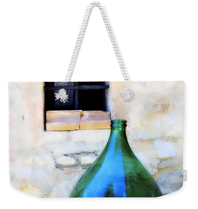 Bottle Weekender Tote Bag featuring the photograph Green Bottle Italian Window by Marilyn Hunt