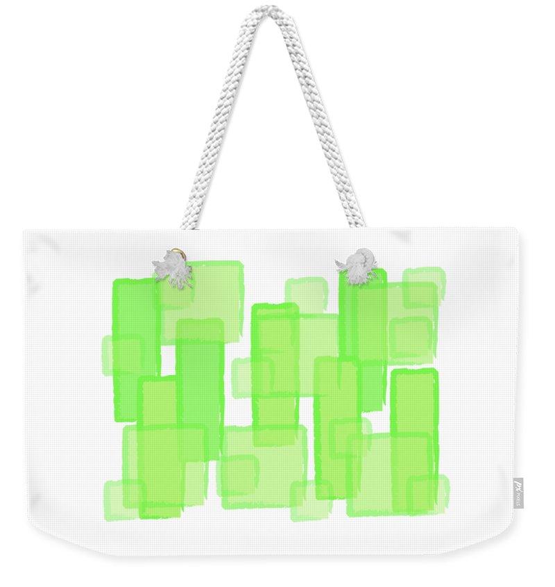 Abstract Weekender Tote Bag featuring the digital art Green Boxes by Prar Kulasekara