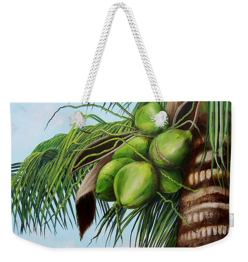 Coconuts Weekender Tote Bag featuring the painting Green Coconuts- 01 by Dominica Alcantara