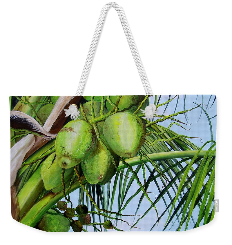 Greencoconuts Weekender Tote Bag featuring the painting Green Coconuts-02 by Dominica Alcantara