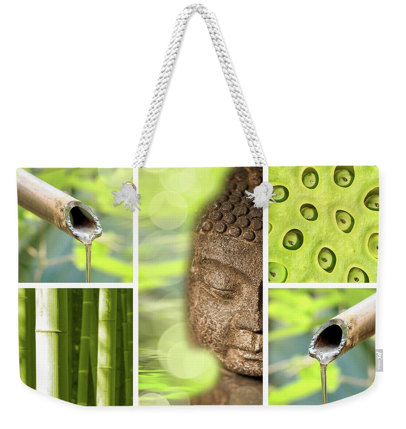 Buddha Weekender Tote Bag featuring the photograph Green Collage by Delphimages Photo Creations