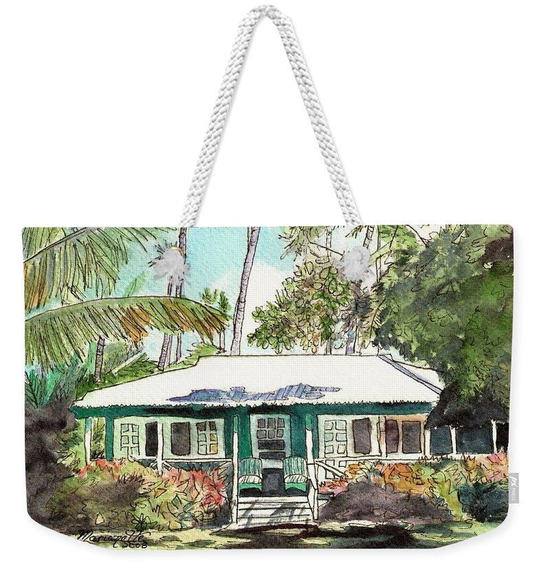 Cottage Weekender Tote Bag featuring the painting Green Cottage by Marionette Taboniar