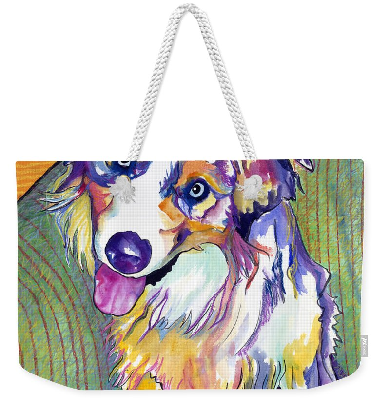 Pat Saunders-white Weekender Tote Bag featuring the painting Green Couch  by Pat Saunders-White
