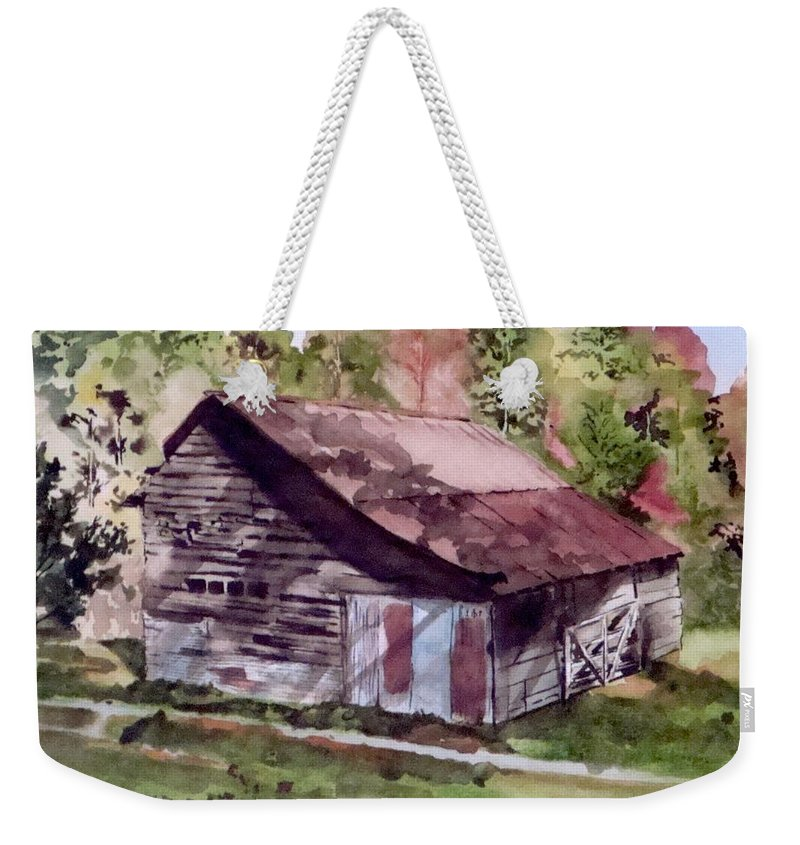 Barns Weekender Tote Bag featuring the painting Green Creek Barn by Jean Blackmer
