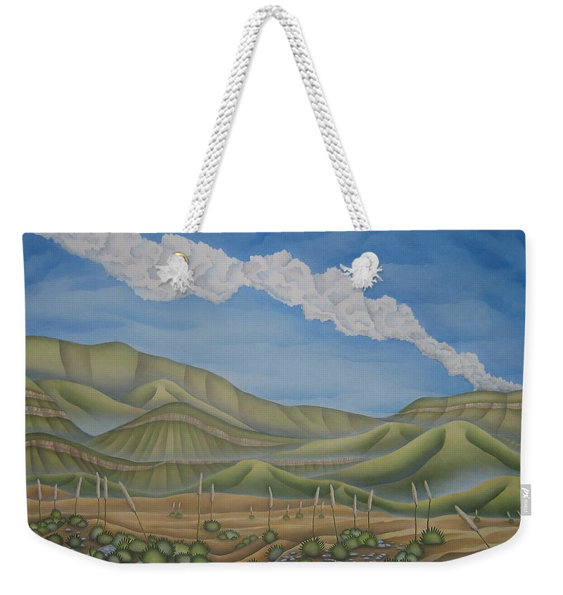 Landscape Weekender Tote Bag featuring the painting Green Desert by Jeniffer Stapher-Thomas