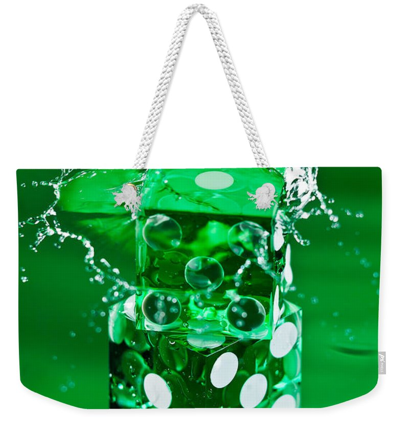 Dice Weekender Tote Bag featuring the photograph Green Dice Splash by Steve Gadomski