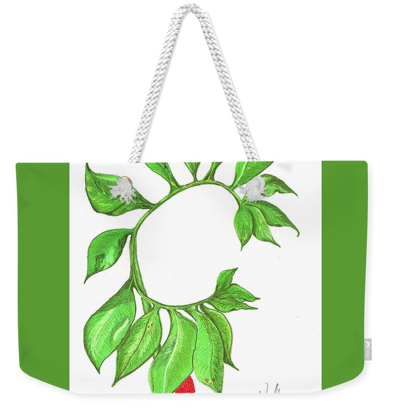 Woodland Plant Weekender Tote Bag featuring the photograph Green Dragon With Fruit Cluster by Madison Woods