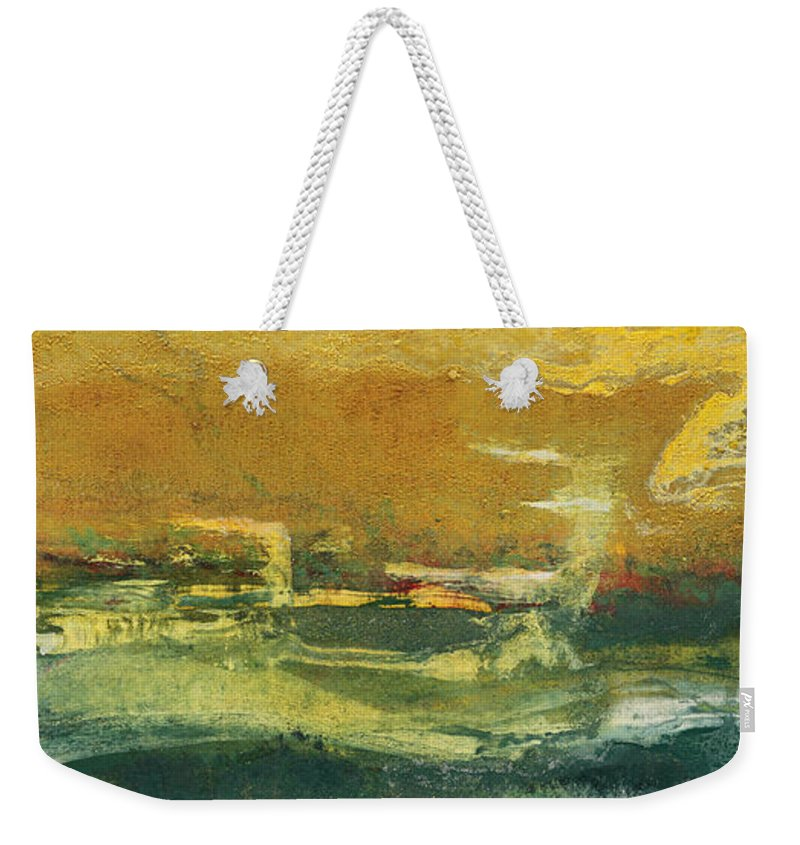 Abstract Painting Weekender Tote Bag featuring the painting Green Edge by Pat Saunders-White