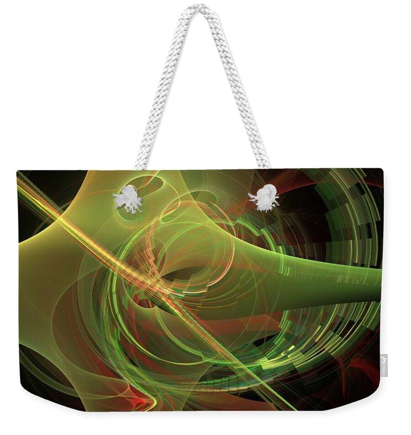 Weekender Tote Bag featuring the digital art Green Energy Tunnel by Deborah Benoit